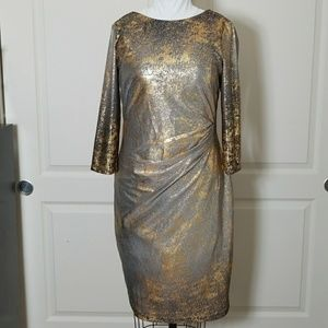 NWOT Grey and Gold flecked party dress